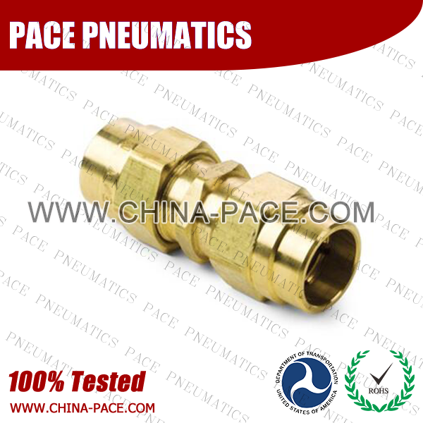 Union Straight, Air Brake DOT Compression Fittings For Rubber Hose, DOT Air brake Hose ends,  D.O.T. AIR BRAKE REUSABLE FITTINGS, DOT Brass Fittings, Air Brake Fittings for Rubber Tubing, Pneumatic Fittings, Brass Air Fittings