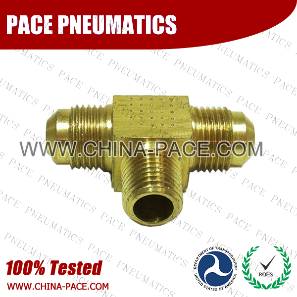 Barstock Male Branch Tee SAE 45°Flare Fittings, Brass Pipe Fittings, Brass Air Fittings, Brass SAE 45 Degree Flare Fittings