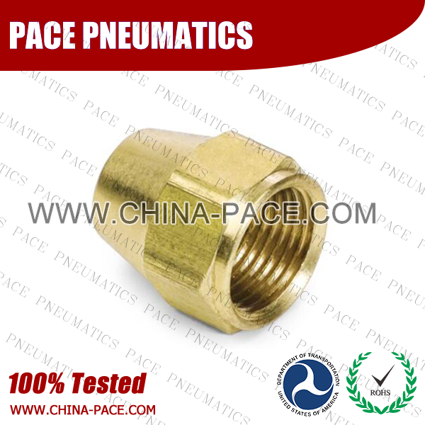 Short Rod Nut SAE 45°Flare Fittings, Brass Pipe Fittings, Brass Air Fittings, Brass SAE 45 Degree Flare Fittings