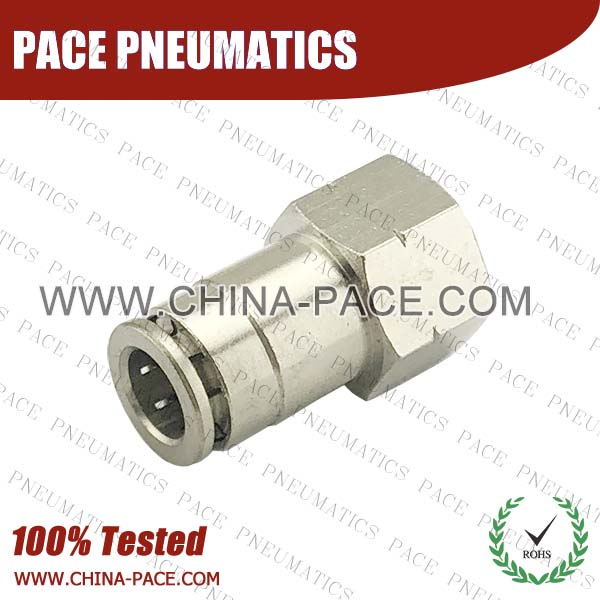 G Thread Female Straight Camozzi Type Brass Push In Air Fittings, All Brass Pneumatic Fittings, Nickel Plated Brass Air Fittings, Full Brass Push To Connect Fittings, one touch tube fittings, Push In Pneumatic Fittings