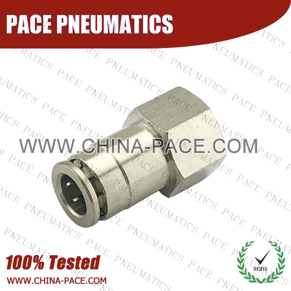Female Straight Camozzi Type Brass Push In Air Fittings, All Brass Pneumatic Fittings, Nickel Plated Brass Air Fittings, Full Brass Push To Connect Fittings, one touch tube fittings, Push In Pneumatic Fittings