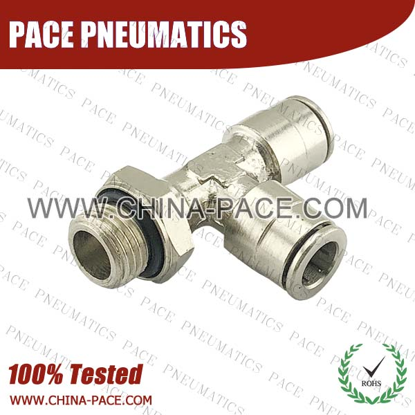 G Thread Male Run Tee Camozzi Type Brass Push In Air Fittings, All Brass Pneumatic Fittings, Nickel Plated Brass Air Fittings, Full Brass Push To Connect Fittings, one touch tube fittings, Push In Pneumatic Fittings