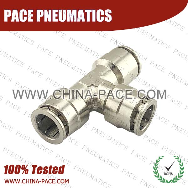 Union Tee Camozzi Type Brass Push In Air Fittings, All Brass Pneumatic Fittings, Nickel Plated Brass Air Fittings, Full Brass Push To Connect Fittings, one touch tube fittings, Push In Pneumatic Fittings