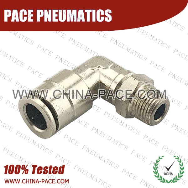 Male Elbow Camozzi Type Brass Push In Air Fittings, All Brass Pneumatic Fittings, Nickel Plated Brass Air Fittings, Full Brass Push To Connect Fittings, one touch tube fittings, Push In Pneumatic Fittings