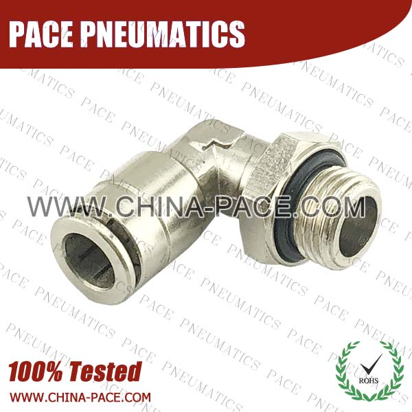 G Thread Male Elbow Camozzi Type Brass Push In Air Fittings, All Brass Pneumatic Fittings, Nickel Plated Brass Air Fittings, Full Brass Push To Connect Fittings, one touch tube fittings, Push In Pneumatic Fittings