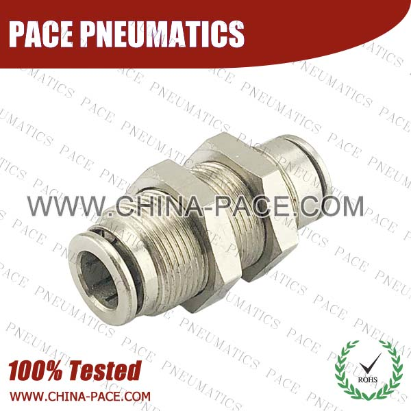 Union Bulkhead Straight Camozzi Type Brass Push In Air Fittings, All Brass Pneumatic Fittings, Nickel Plated Brass Air Fittings, Full Brass Push To Connect Fittings, one touch tube fittings, Push In Pneumatic Fittings