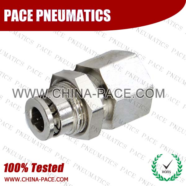 Female Straight Bulkhead Camozzi Type Brass Push In Air Fittings, All Brass Pneumatic Fittings, Nickel Plated Brass Air Fittings, Full Brass Push To Connect Fittings, one touch tube fittings, Push In Pneumatic Fittings