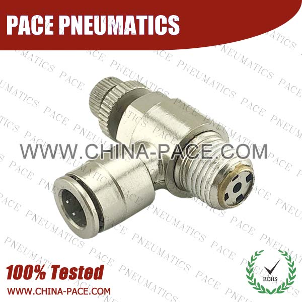 Brass Speed Controller, Camozzi Type Brass Push In Air Fittings, All Brass Pneumatic Fittings, Nickel Plated Brass Air Fittings, Full Brass Push To Connect Fittings, one touch tube fittings, Push In Pneumatic Fittings