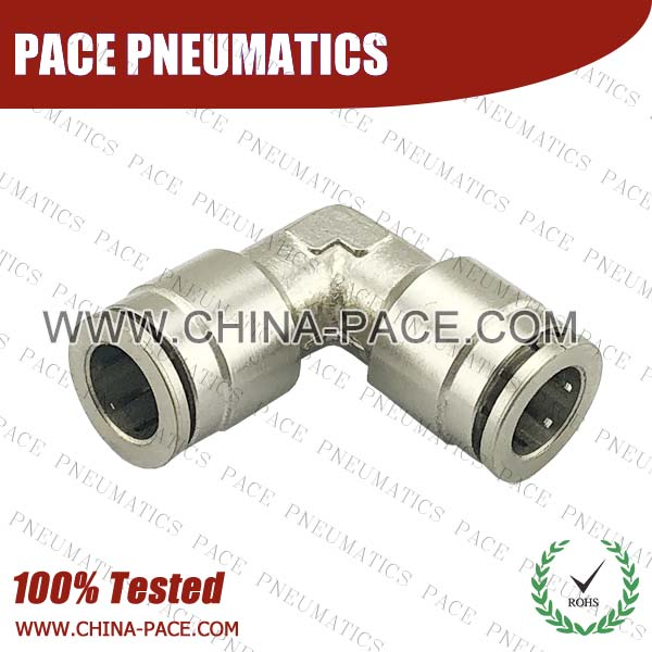 Union Elbow, Camozzi Type Brass Push In Air Fittings, All Brass Pneumatic Fittings, Nickel Plated Brass Air Fittings, Full Brass Push To Connect Fittings, one touch tube fittings, Push In Pneumatic Fittings