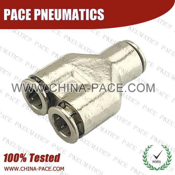 Union Y Camozzi Type Brass Push In Air Fittings, All Brass Pneumatic Fittings, Nickel Plated Brass Air Fittings, Full Brass Push To Connect Fittings, one touch tube fittings, Push In Pneumatic Fittings
