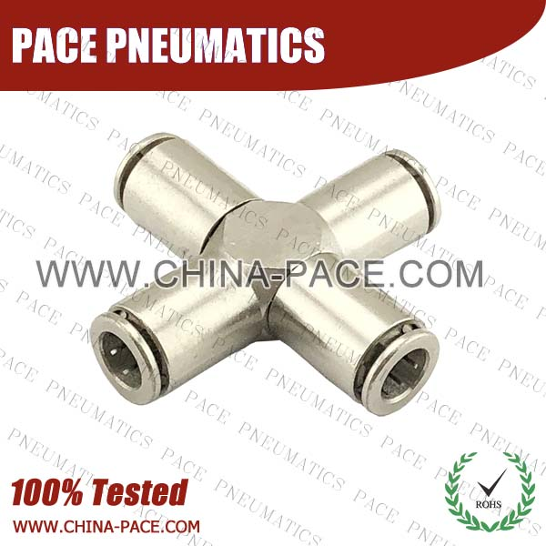 Union Cross Camozzi Type Brass Push In Air Fittings, All Brass Pneumatic Fittings, Nickel Plated Brass Air Fittings, Full Brass Push To Connect Fittings, one touch tube fittings, Push In Pneumatic Fittings