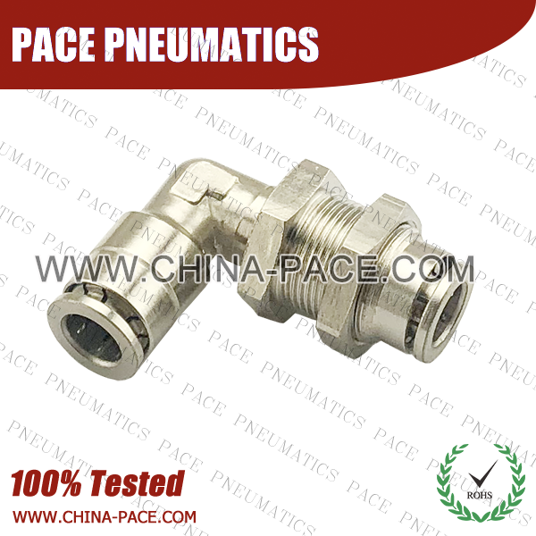 Camozzi Type Brass Push In Fittings Bulkhead Elbow, Nickel Plated Brass Push To Connect Fittings Bulkhead Elbow