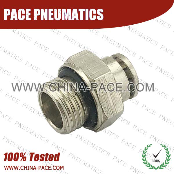 G Thread Male Straight Camozzi Type Brass Push In Air Fittings, All Brass Pneumatic Fittings, Nickel Plated Brass Air Fittings, Full Brass Push To Connect Fittings, one touch tube fittings, Push In Pneumatic Fittings
