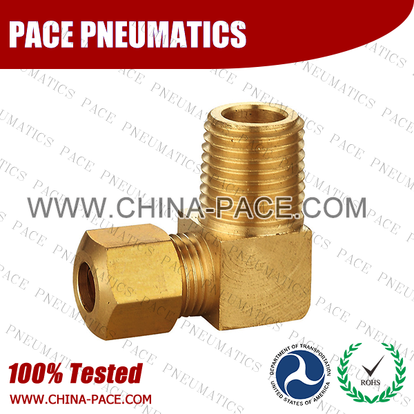 Barstock 90°Male Elbow Brass Compression Fittings, Air compression Fittings, Brass Compression Fittings, Brass pipe joint Fittings, Pneumatic Fittings, Air Fittings, Pneumatic connectors, Air Connectors, pneumatic Components