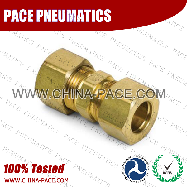 Union Straight Brass Compression Fittings, Air compression Fittings, Brass Compression Fittings, Brass pipe joint Fittings