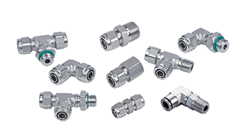 Stainless Steel Rapid Fittings For Plastic Tubing, SS Push On Fittings, SUS Two Touch Fittings