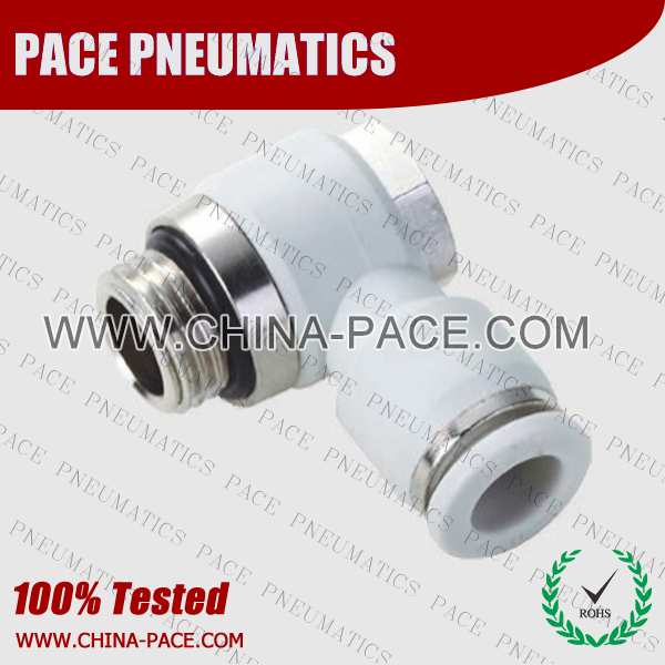 G Thread male elbow banjo push in fittings, pneumatic fittings, one touch fittings, push to connect fittings, air fittings