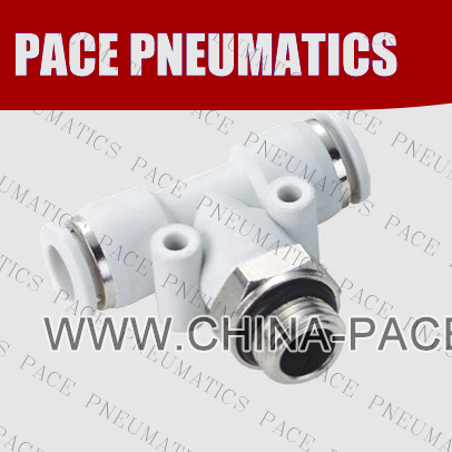 G Thread Male Branch Tee push in fittings, pneumatic fittings, one touch fittings, push to connect fittings, air fittings