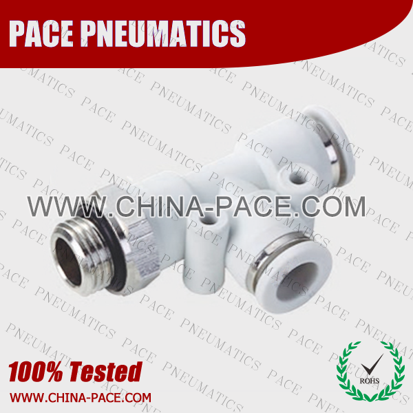 G Thread Grey male run tee PUSH IN FITTINGS, AIR FITTINGS, PNEUMATIC FITTINGS