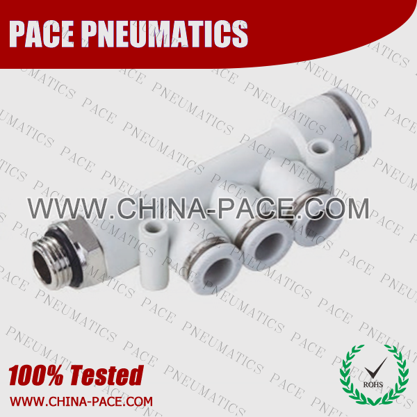 G Thread Male Triple Straight push in fittings, pneumatic fittings, one touch fittings, push to connect fittings, air fittings