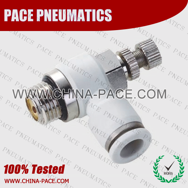 G Thread Air flow control valve, Speed controller, push in fittings, pneumatic fittings, one touch fittings, push to connect fittings, air fittings