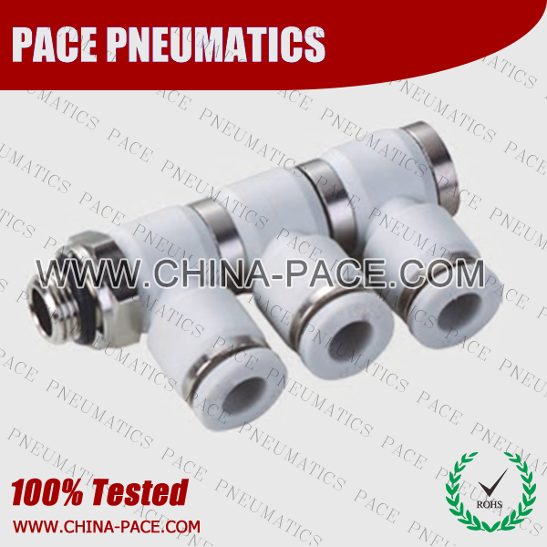 G Thread Triple male elbow push in fittings, pneumatic fittings, one touch fittings, push to connect fittings, air fittings