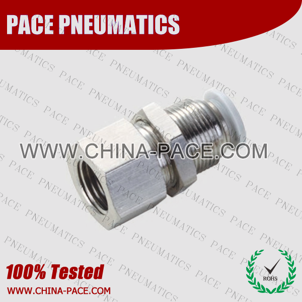 Female bulkhead Grey Color Pneumatic Fittings, White Push To Connect Fittings, Air Fittings, white color push in fittings, Push In Air Fittings, Composite Push In Fittings, Polymer push to connect Fittings, Air Flow Speed Control valve, Hand Valve, pneumatic component