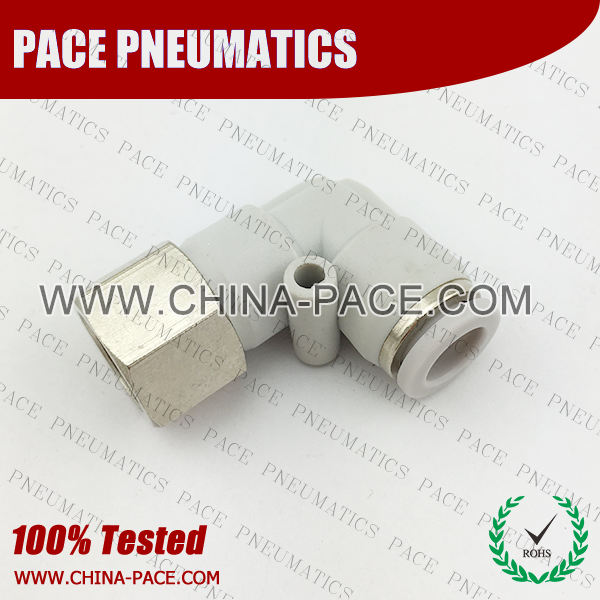 Female Elbow Grey Color Pneumatic Fittings, White Push To Connect Fittings, Air Fittings, white color push in fittings, Push In Air Fittings, Composite Push In Fittings, Polymer push to connect Fittings, Air Flow Speed Control valve, Hand Valve, pneumatic component