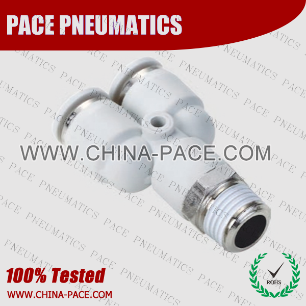 Male Y Grey Color Pneumatic Fittings, White Push To Connect Fittings, Air Fittings, white color push in fittings, Push In Air Fittings, Composite Push In Fittings, Polymer push to connect Fittings, Air Flow Speed Control valve, Hand Valve, pneumatic component