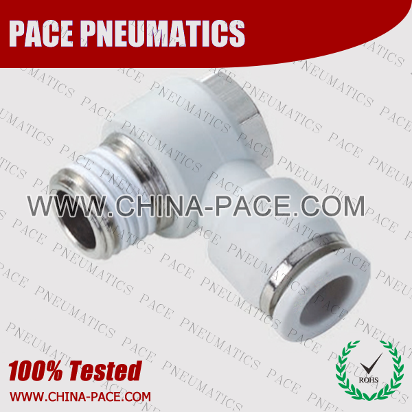 Male Banjo Elbow Grey Color Pneumatic Fittings, White Push To Connect Fittings, Air Fittings, white color push in fittings, Push In Air Fittings, Composite Push In Fittings, Polymer push to connect Fittings, Air Flow Speed Control valve, Hand Valve, pneumatic component