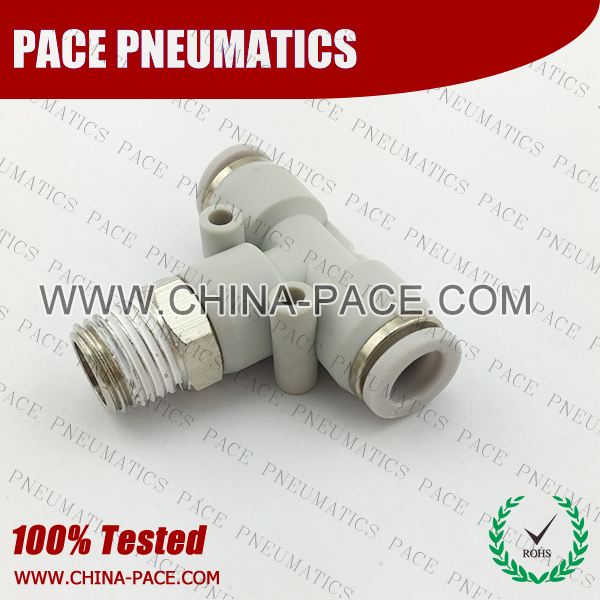 Grey White Male Branch Tee Grey Color Pneumatic Fittings, White Push To Connect Fittings, Air Fittings, white color push in fittings, Push In Air Fittings, Composite Push In Fittings, Polymer push to connect Fittings, Air Flow Speed Control valve, Hand Valve, pneumatic component