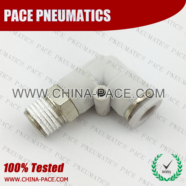 Male Elbow Grey Color Pneumatic Fittings, White Push To Connect Fittings, Air Fittings, white color push in fittings, Push In Air Fittings, Composite Push In Fittings, Polymer push to connect Fittings, Air Flow Speed Control valve, Hand Valve, pneumatic component