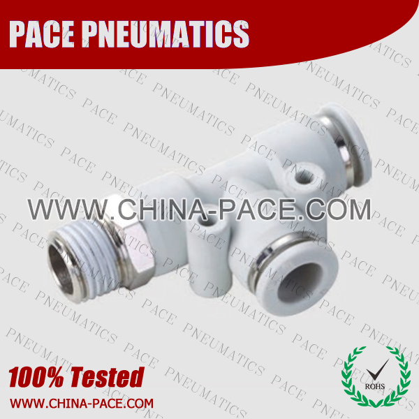 Male Run Tee Grey Color Pneumatic Fittings, White Push To Connect Fittings, Air Fittings, white color push in fittings, Push In Air Fittings, Composite Push In Fittings, Polymer push to connect Fittings, Air Flow Speed Control valve, Hand Valve, pneumatic component