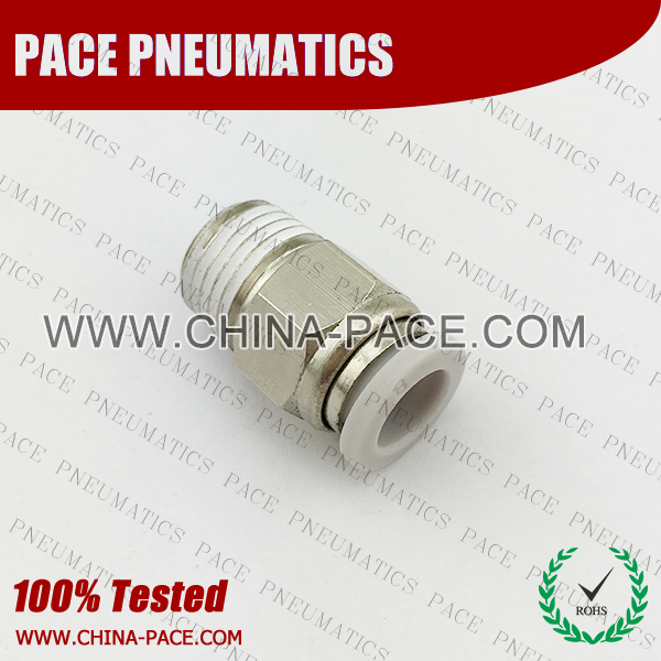 Male Straight Grey Color Pneumatic Fittings, White Push To Connect Fittings, Air Fittings, white color push in fittings, Push In Air Fittings, Composite Push In Fittings, Polymer push to connect Fittings, Air Flow Speed Control valve, Hand Valve, pneumatic component