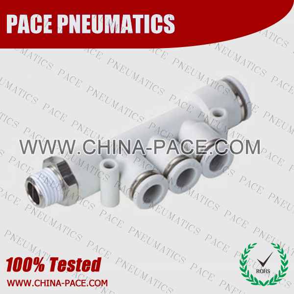 Male Triple Elbow Grey Color Pneumatic Fittings, White Push To Connect Fittings, Air Fittings, white color push in fittings, Push In Air Fittings, Composite Push In Fittings, Polymer push to connect Fittings, Air Flow Speed Control valve, Hand Valve, pneumatic component
