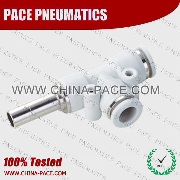 Grey White Push In Run Tee push in fittings, pneumatic fittings, one touch fittings, push to connect fittings, air fittings
