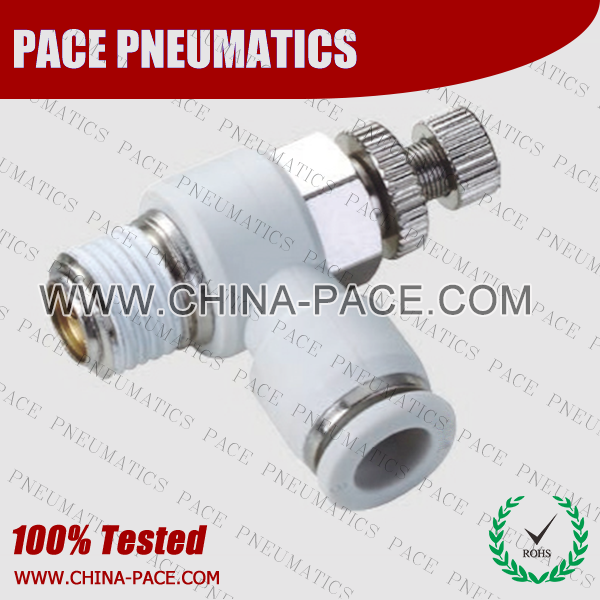 Air Flbow control valve Grey Color Pneumatic Fittings, White Push To Connect Fittings, Air Fittings, white color push in fittings, Push In Air Fittings, Composite Push In Fittings, Polymer push to connect Fittings, Air Flow Speed Control valve, Hand Valve, pneumatic component