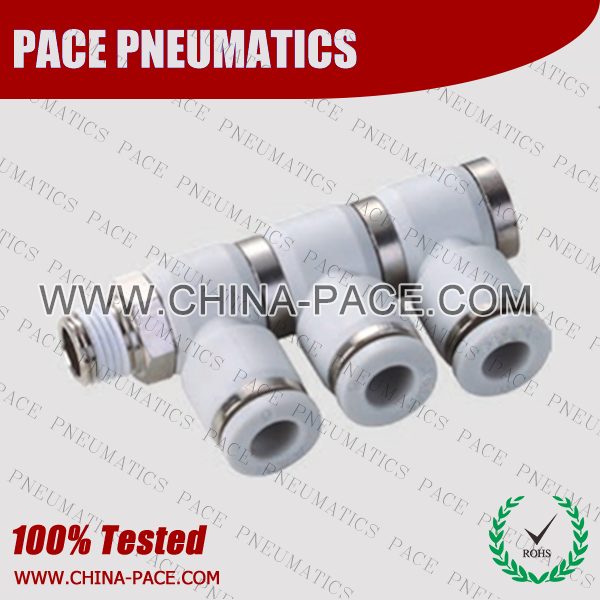 Triple Male Elbow Grey Color Pneumatic Fittings, White Push To Connect Fittings, Air Fittings, white color push in fittings, Push In Air Fittings, Composite Push In Fittings, Polymer push to connect Fittings, Air Flow Speed Control valve, Hand Valve, pneumatic component