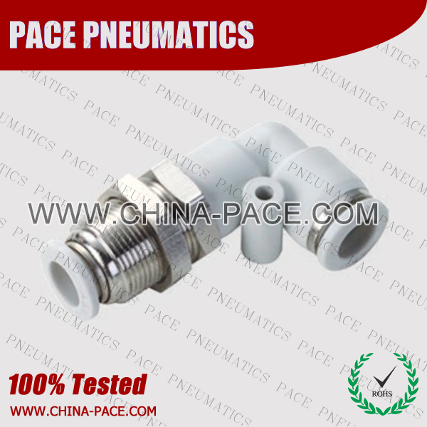 Grey White Bulkhead Elbow Grey Color Pneumatic Fittings, White Push To Connect Fittings, Air Fittings, white color push in fittings, Push In Air Fittings, Composite Push In Fittings, Polymer push to connect Fittings, Air Flow Speed Control valve, Hand Valve, pneumatic component