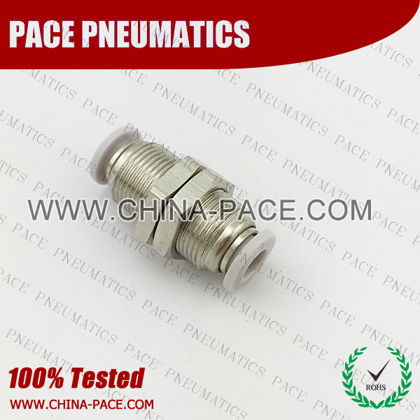Union Straight Bulkhead Grey Color Pneumatic Fittings, White Push To Connect Fittings, Air Fittings, white color push in fittings, Push In Air Fittings, Composite Push In Fittings, Polymer push to connect Fittings, Air Flow Speed Control valve, Hand Valve, pneumatic component