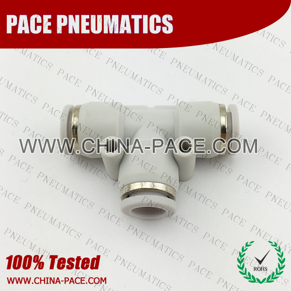 Grey White Union Tee push in fittings, pneumatic fittings, one touch fittings, push to connect fittings, air fittings