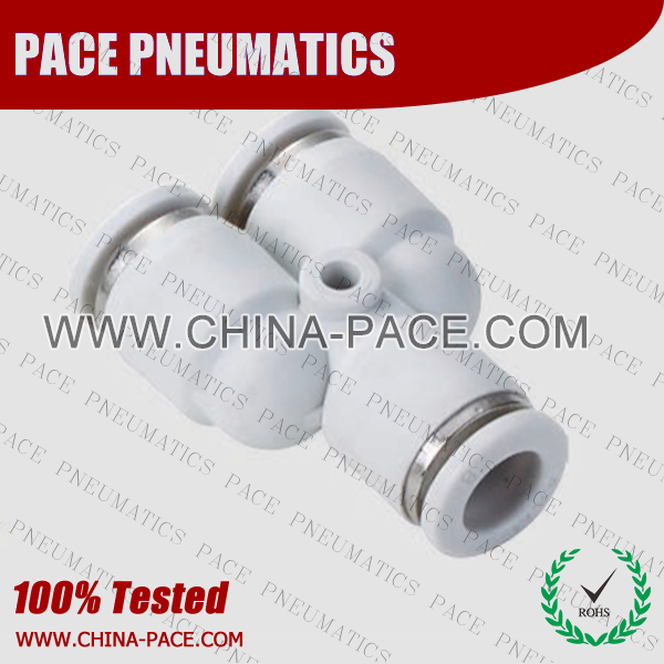 Grey White Union Y push in fittings, pneumatic fittings, one touch fittings, push to connect fittings, air fittings